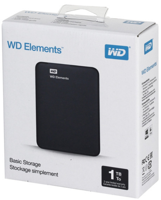 Внешний жёсткий диск Western Digital Elements Portable 1TB (WDBUZG0010BBK-WESN)